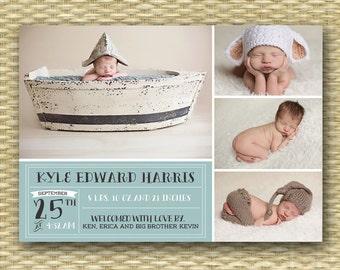 Baby Announcement Birth Announcement Baby Boy Announcement Baby Girl Announcement 4 Photo Typography Style Aqua Blue