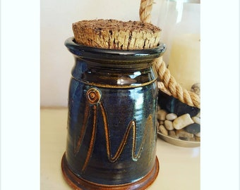 Studio Pottery Glazed & Etched Canister Jar with Cork Lid