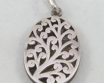 ON SALE Double sided sterling silver wood oval pendant