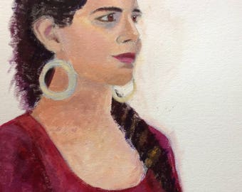 original acrylic painting of young woman
