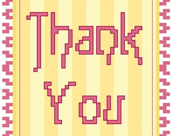 Counted Cross Stitch Pattern Thank you