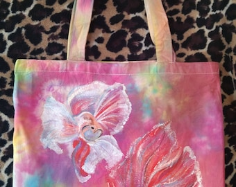 Unique Hand-Painted Canvas Tote Bag with Two Fish Design