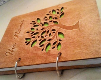Personal wooden notebook A5, 100 sheets