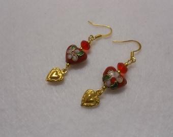 Valentine Cloisonne Earrings, Sweetheart Earrings, Heart Earrings, Red Heart Earrings, Valentine Dangle Earrings