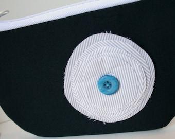 Dark Blue Fabric Wristlet, IPhone Wristlet, SmartPhone Wristlet, Zippered Wristlet