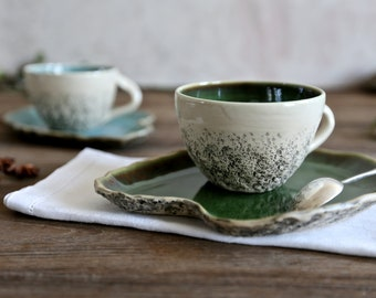 Teacup with Saucer Green, colorful teacups wheel thrown, Cappuccino, Rustic,Stoneware cup, Big coffee cup,Pottery ceramic mug, Birthday gift