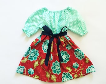 Mint and Red Floral 3/4 Sleeve Dress - Girls Dress - Girls Dresses - Girls Fall Dresses - Ready to Ship Dresses - Fast Ship Dresses - Fall