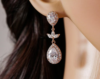 Bridal crystal earrings, Rose gold, or silver with cubic zirconia, pendant teardrop, gold, Custom bridal jewelry, Bridesmaid, bride gift,