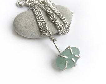Aqua Seaglass Beach Glass Claw Prong Set Necklace Sterling Silver 18 Inch Curb Chain