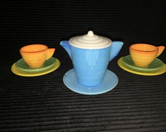 Retro 1930's Akro Agate childs tea set
