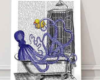 Kids bathroom art - Octopus in the Bath - Octopus decor Tentacles squid Beach house decor Funny art Cute gift for kids Canvas art for kids