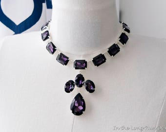 18th Century Reproduction Purple Queen Anne Collet Necklace.  Dark Amethyst Rhinestone Paste Glass. Rococo, Colonial, Georgian, Historical.