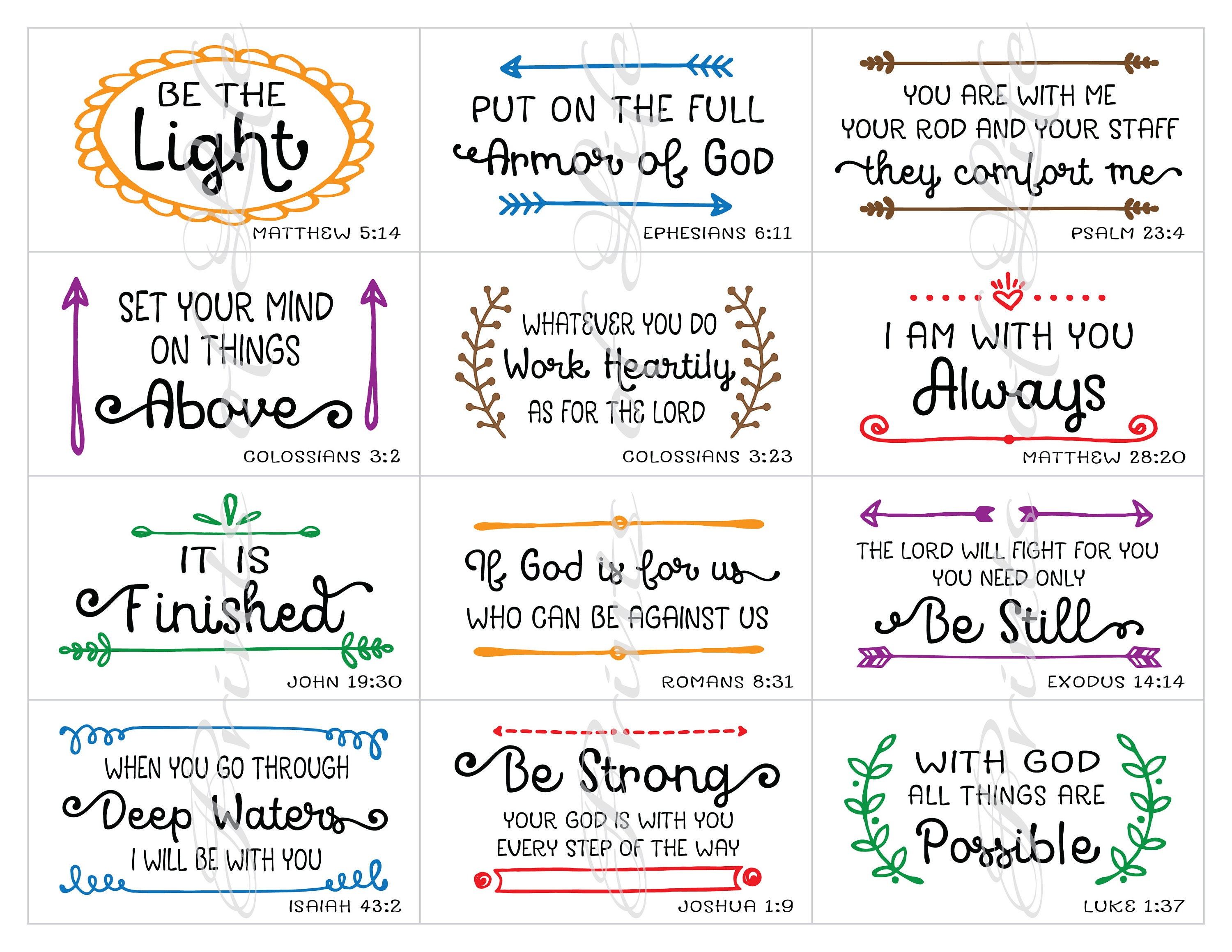 Bible verse notes. Lunchbox cards. Instant download printable PDF ...
