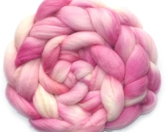 Roving Hand Dyed Cashmere Baby Camel Superfine Merino 25/25/50 Combed Top, 4.0 oz., Pretty in Pink
