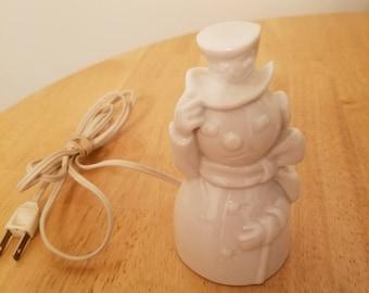 Vintage Porcelain Snowman Night Light