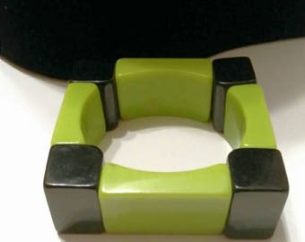 Vintage Black Green Square Lucite Color Block Bracelet, Accessories, Boutique, Fashion Jewelry