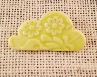Porcelain ceramic cloud brooch with textured flower design, chartreuse, lime