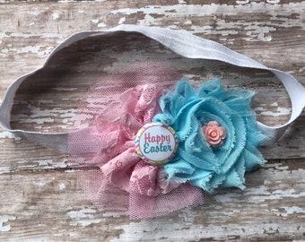 Adorable Happy Easter-Infant/Children's Headband: Pink & Blue flowers on a White elastic headband- Newborn, Baby, Toddler, Children's