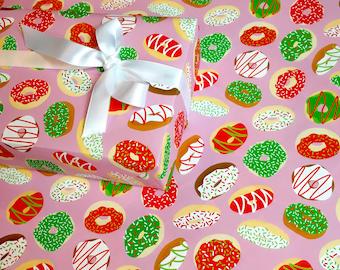 DONUT CHRISTMAS gift wrap   fun gift wrap, cute gift wrap, cute wrapping paper, christmas gift wrap, donut wrapping paper, donut gift wrap
