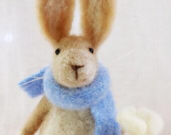 Needle Felted Animal , Rabbit , Gift , Easter celebration,  Nature Scene , home decor , Decoration , Waldorf Art