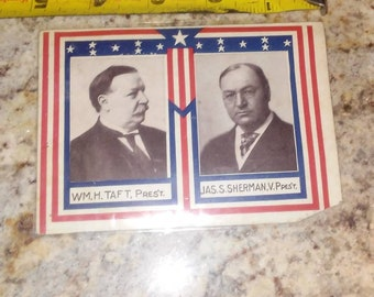 Antique William Taft president Sherman vice president 1910 Democratic postcard, rppc, postcard, rare Taft collectible, political memorabilia