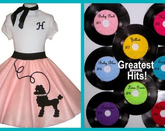 Beautiful Girls 3pc Lulu Poodle Skirt Outfit Your Choice of Size and Color S,M,L,XL  Prices from 70.00 and Up!