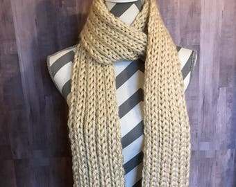 Cream ribbon knitted scarf