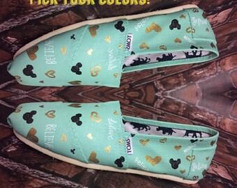 Disney Inspired BELIEVE Shoe. Mint & Gold Disney Toms. Mint Mickey Toms. Believe Toms.