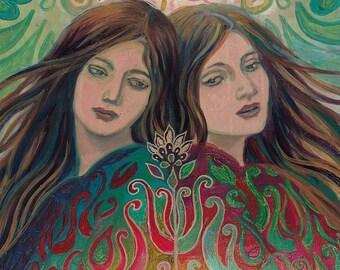Mystic Sisters 8x10 Fine Art Print Pagan Mythology Art Nouveau Bohemian Gypsy Goddess Art