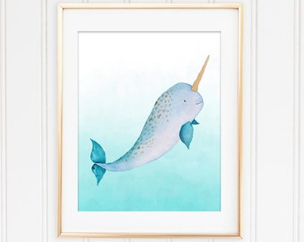 Narwhal Wall Art, Whale Nursery Art, Whale Wall Art, Narwhal Baby, Whale Nursery Art, Nautical Kids Room, Nautical Theme, Nautical Baby