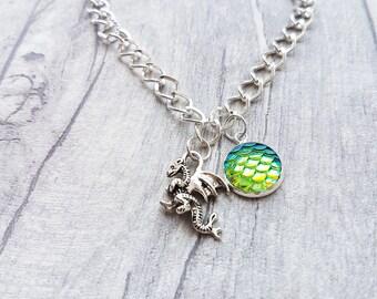 Dragon charm bracelet, Silver dragon Bracelet, Dragon charm, Dragon Bracelet, dragon gift, fantasy gift, dragon scale, gothic, mythical