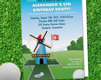 Windmill Mini Golf Birthday Party Invitation, Printable, Evite or Printed (US Only) Invitation