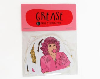 Grease - 12 piece sticker set - Grease movie - Grease sticker pack  - Grease sticker set - Grease Pink Ladies - Grease T Birds - Grease gift