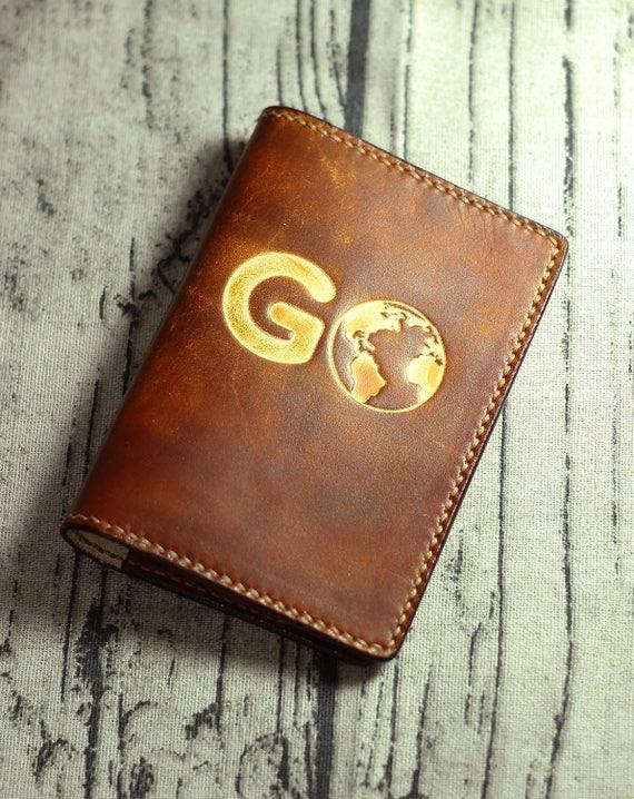 Personalisierte Reisepass-Cover Leder-Pass Abdeckung gehen