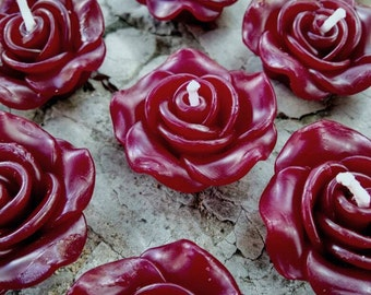 30x small Rose floating candles 3.5cm size - burgundy
