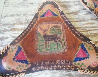 Mexican Leather Decor--Tripod Seats- Painted and Embossed from Mexico