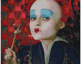 Alice in Wonderland Cross Stitch - Queen of Hearts - Red Queen - Tim Burton - PDF Download