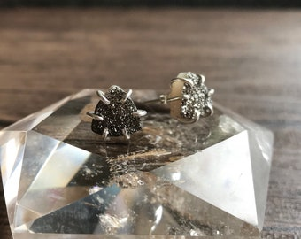 Pyrite Triangle Druzy & Sterling Silver Stud Earrings