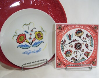 Berggren Swedish Folk Art Plate, Rosemaling,Scandinavian Berggren Floral Rosemaling Plate Swedish Scandinavian