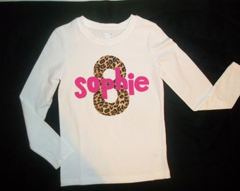 Wild animal leopard cheetah print personalized birthday number, initial, hot pink name applique SHIRT girl baby toddler tween- fun birthdays