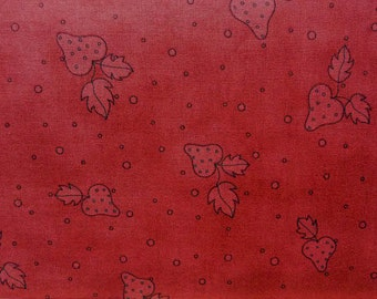 Strawberry Fabric, 24117 Red Rooster Nice People Nice Things, Red Strawberry Quilt Fabric,  Cotton