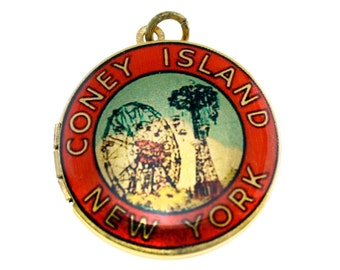 Photo Locket, Image Locket, Art Locket, Picture Locket, Brass Locket - Vintage Coney Island Travel Sticker