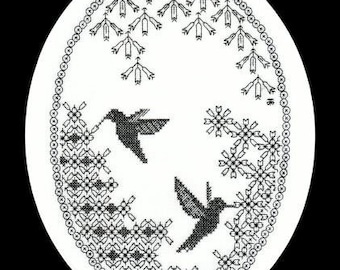Digital Download of the Beginners Embroidery Pattern - Cross-Stitch Meets Blackwork - Hummingbird Haven - Hand Embroidery Pattern