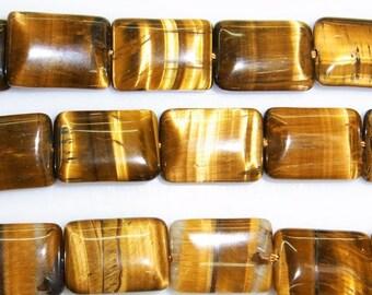 13X18mm Rectangle Tiger Eye Beads Natural Semiprecious Gemstone Bead String Beading 15''L Jewelry Supply Wholesale Beads