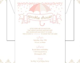 Umbrella Sprinkle Shower Invitation - Sprinkle Shower - Sprinkle Invite - Shower invite - Boy/Girl Baby Shower invite - Umbrella Shower