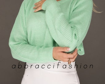 Womans Sexy Mint Cropped Sweater Knitted Crop Knit
