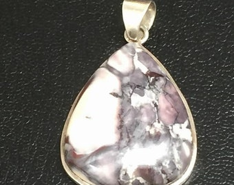 vintage purple agate and sterling silver pendent