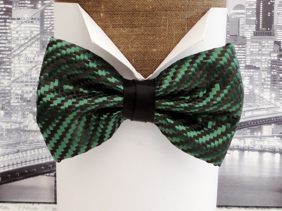 Carbon Fibre Bow Tie, British Racing Green Polyester and Black Carbon Fibre