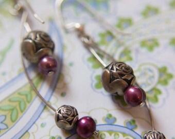 Rose and Purple Pearl Earrings