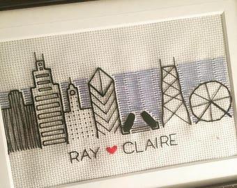 Chicago Skyline Needlepoint/ Option to Customize